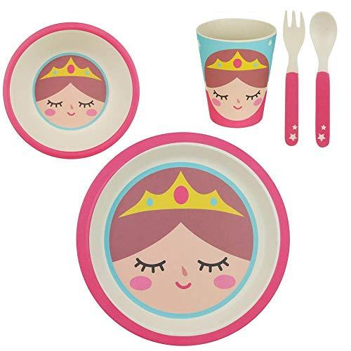 XX Small 38-1E-004 Set repas enfant Assiette Bol Verre et Couverts Princesse Bambou Multicolore H24,5 x 10 x 25 cm