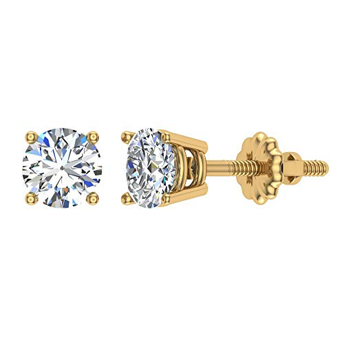 Diamond Earrings for women-men-girls Round Cut 14K Yellow Gold studs 1.50 ct t.w. Gift box Authenticity Cards (G, VS1)
