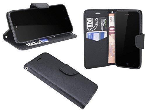 ENERGMiX Buchtasche Hülle kompatibel mit ZTE Blade L6 Hülle Tasche Wallet BookStyle mit Standfunktion in Schwarz