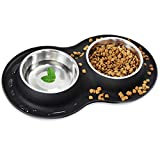FEULAM Stainless Steel Dog Bowls for Small Dogs, Cat Food Bowls with No Spill Non Skid Silicone Mat, Pet Dog Food Water Bowls for Small Puppy
