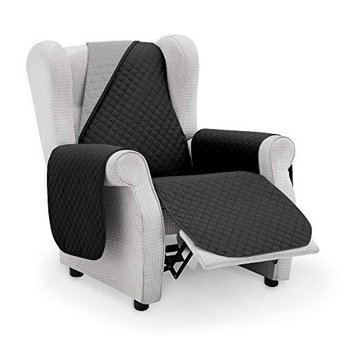 Vipalia Protector Sofa Sillon Relax. Cubre Sofa 1 Plaza. Cubre Sillon reclinable Acolchado Reversible. Fundas para Sofa Antimanchas. Rombos. Color Negro - Gris. Cubre Sofa 1 Plaza/Relax 55 cm.