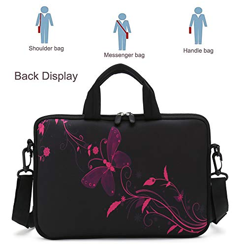 RICHEN 14 15 15.4 15.6 inch Laptop Shoulder Bag Messenger Bag Case Notebook Handle Sleeve Neoprene Soft Carring Tablet Travel Case with Accessories Pocket (14-15.6 inch, Nice Butterfly) Missouri