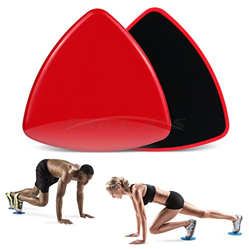 2 x Dual Sided Gliding Discs Exercise Sliders Core Sliders Fitness Ultimate Trainer Gym Home Abdominal & Total Full Body Workout Equipment on ALL surfaces Slide & Glide Exercises (Red, Triangle)