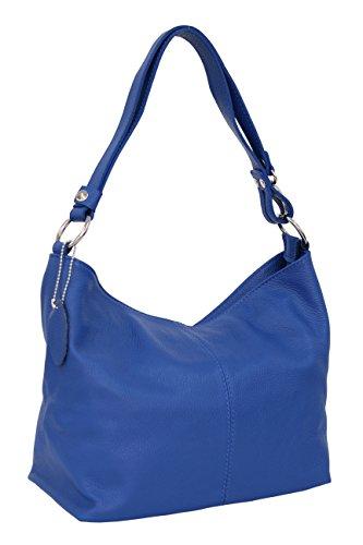 AMBRA Moda Damen Leder Handtasche Schultertasche Umhängetasche Hobo bag GL005 (Royalblau)