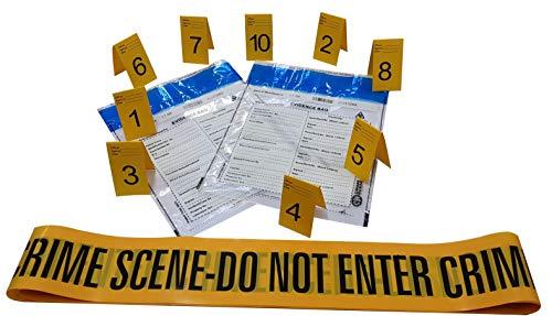 Kobe1 6m Crime Scene Absperrband Do Not Enter (x1),Beweis Tasche (x2),Foto Beweis Rahmen,Beweismarkierung (1 bis 10), (7cm x 4cm Karten).