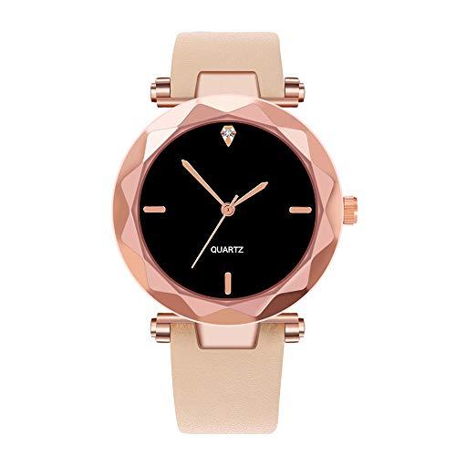 SoonerQuicker Uhr Armbanduhr Damen Quartzuhr Frauen Uhren Klassisch Mode Elegant Damenuhr Armbanduhren Analoge Quarz Lederband Wasserdicht Billig Geschäft Geschenke 56