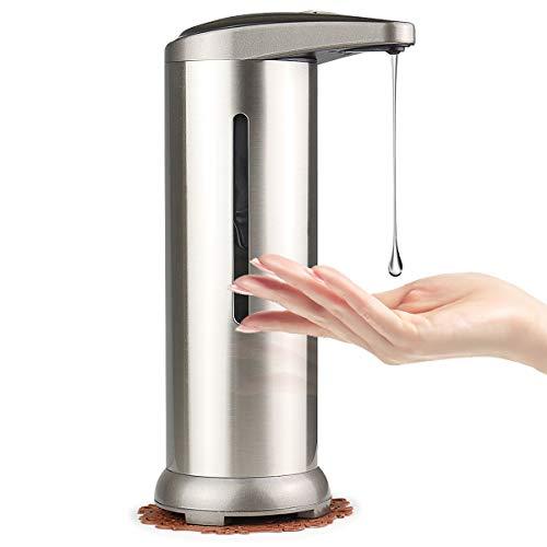 SYEU - Dispenser automatico di sapone, 280 ml in acciaio inox, con finestra visiva, dispenser elettrico, senza contatto, con sensore di movimento a infrarossi per cucina, bagno, ufficio, hotel