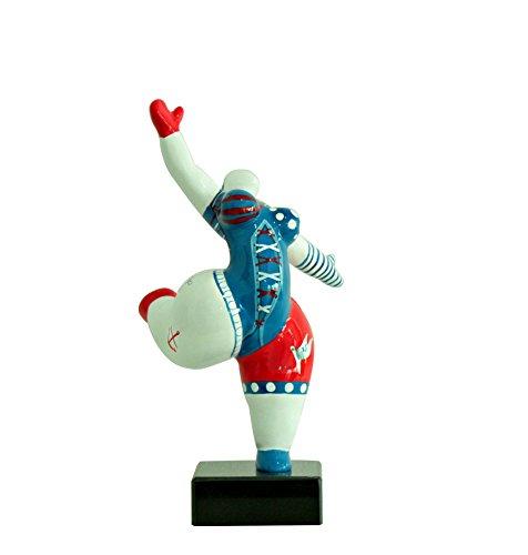 Meubletmoi - Statua da donna bianca, motivo: ballerina, decorazione blu e rosso, stile Pop Art