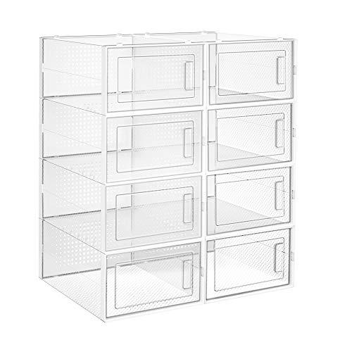 SONGMICS Schuhboxen, 8er Set, Aufbewahrungsboxen für Schuhe, Schuh-Organizer, Kunststoffboxen, faltbar und stapelbar, für Schuhe bis Größe 42, transparent-weiß LSP08SWT