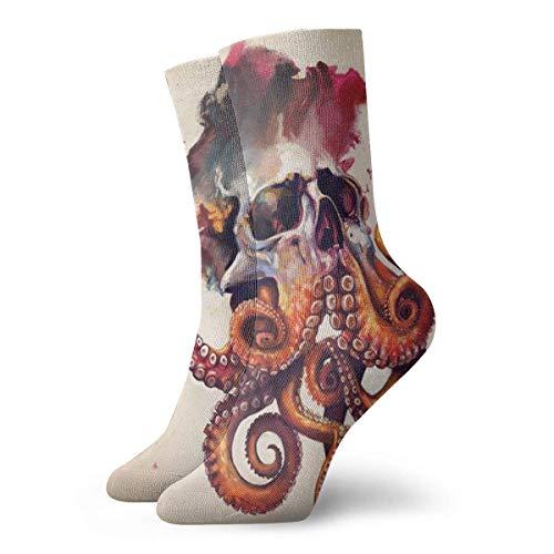 Los mejores diseños de tatuajes de calavera de pulpo Calcetines deportivos de algodón de ocio Calcetines de compresión clásicos suaves Calcetines deportivos largos para hombres Mujeres Regalo de vacac