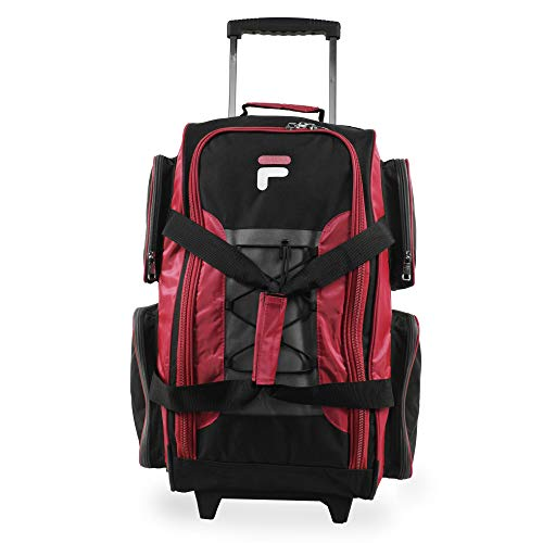 """Fila 22"""" Lightweight Carry On Rolling Duffel Bag, Red, One Size"""