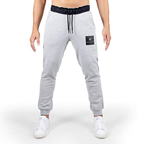 MOROTAI Box Sweatpants Jogginghose Herren - Lange Sporthose Mit Verstellbarem Bund - Trainingshose Pants Baumwolle Freizeithose - Hellgrau - L