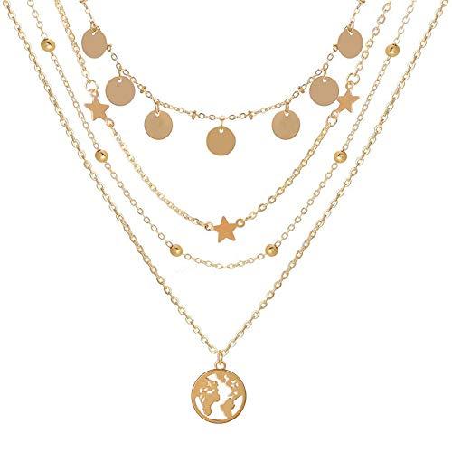 Collares Colgante Joyas Nuevos Collares para Mujer, Colgante De Corazón, Cadena De Clavícula, Conjunto De Collar De Oro Multicapa, Jewelry-43683