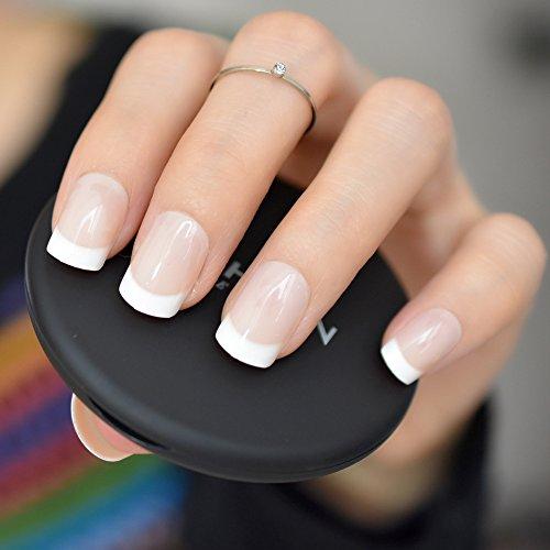 EchiQ - Uñas postizas blancas naturales francesas, acrílicas, filtran UV, uñas postizas para salón de manicura o manicura en casa, uñas artificiales para pegar