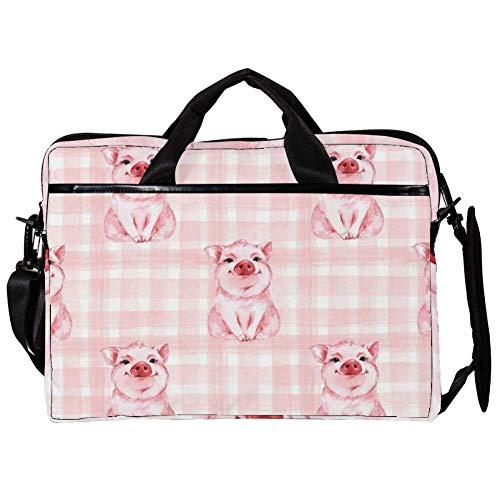 Cute Pig Checkered Background Plaid Laptop Messenger Bag Zipper Notebook Computer Sleeve Case Compatible 14-15.4 Inch Laptop