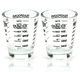 Shot Glasses Measuring cup Liquid Heavy Glass Wine Glass Espresso Shot Glass 26-Incremental Measurement 1oz, 6 Tsp, 2 Tbs, 30ml (2 pack-black 30ml)