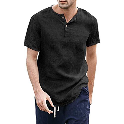 Find Discount FEDULK Men's Summer Autumn Cotton Linen Shirt Plain Button Up Short Sleeve Thin Breath...
