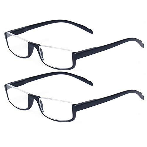 Reading glasses 2 Pair Half Moon Half Frame Readers Spring Hinge Men and Women Glasses (2 Pack Black, 1.25)