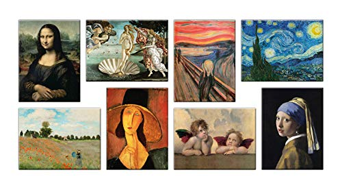 LuxHomeDecor Quadri Famosi 8 Pezzi 40x30 cm Stampa su Tela con Telaio in Legno Van Gogh Botticelli Monet Raffaello Modigliani Leonardo da Vinci Munch Vermeer