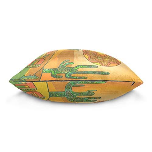 XiangHeFu Abstract Sun Mexican Cactus Pillow Case Cushion Cotton Velvet Throw Pillow Cover 20x20 Inch