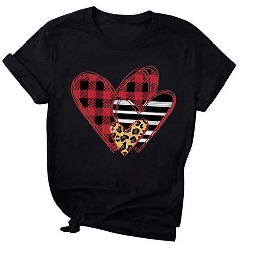 Camiseta día de San Valentín de Mujer y Hombre,ZODOF Camisetas Deporte Mujer Verano t-Shirts Enamorado Impresión a Cuadros del corazón Manga Corta Tops Blusa Camisetas