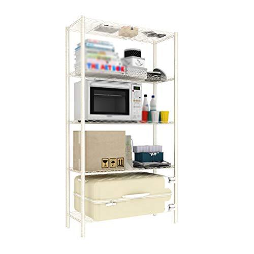 Kitchen furniture - Support de rangement à la maison pour étagère de rangement au sol pour étagère imprimée métallique WXP (Couleur : Blanc, taille : 75X35X160CM)