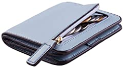 COMPACT SIZE: 4.2 inches X 3.6 inches X 0.8 inches, fit in your pocket or hand bag perfectly; LUXUARY GENUINE LEATHER: Waxed leather, the perfect leather type for womens wallet, is used for this small bifold. It looks gorgeous and feels luxury; the l...