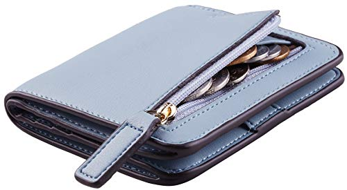 Toughergun Womens Rfid Blocking Small Compact Bifold Luxury Genuine Leather Pocket Wallet Ladies Mini Purse with ID Window (02 ReNapa Blue Classic)