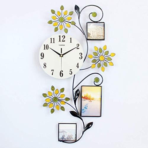 YVX Relojes de Pared con Marco de Fotos, Relojes de Cuarzo silenciosos de Estilo Simple para decoración de Dormitorio, Oficina en casa, Regalo (batería no incluida) (Color: Negro)