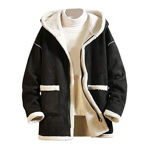 Landscap Men's Jacket Hoodie Fleece Full Zip Soft Jacket Sherpa Lined Jacket Multi-Pocket Winter Warm Classic Fit Jacket(Beige,XXXXXL)