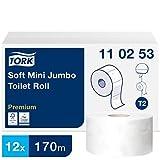 Tork 110253 weiches Mini Jumbo Toilettenpapier in Premium Qualität für das Tork T2 Mini Jumbo Toilettenpapiersystem / Toilettenpapier 2-lagig in Weiß, 12 x 1.214 Blatt