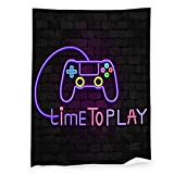 Gamepad Furry Lightweight Long Hair Shaggy Blanket, Brick Wall Video Game Joystick and Time to Play Pattern Anti Static Lightweight Microfiber Throw Blanket for Kid Baby Adults or Pet, for All Season