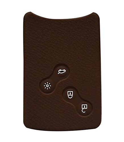 Happyit 4 Tasten Silikon Auto Smart Key Cover Fall für Renault Clio Scenic Megane Duster Sandero Captur Twingo Koleos Fernbedienung (Braun)