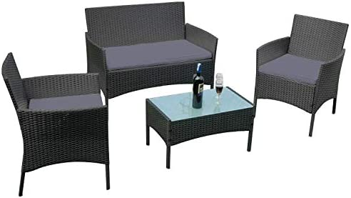 Aufun Balkon Möbel Set Rattan Lounge Set Anthrazit Polyrattan Gartengarnitur inkl. 1 Bank + 2 Stühle + 1 Tisch mit Glasplatte und 8 cm Rückenkissen, für Garten Über 4 Personen