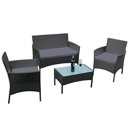 AUFUN - Conjunto de Muebles de jardín para balcón, ratán sintético, Incluye 1 Banco + 2 sillas + 1 Mesa con Tablero de Cristal y 8 cm de cojín de Respaldo, para jardín, 4 Personas