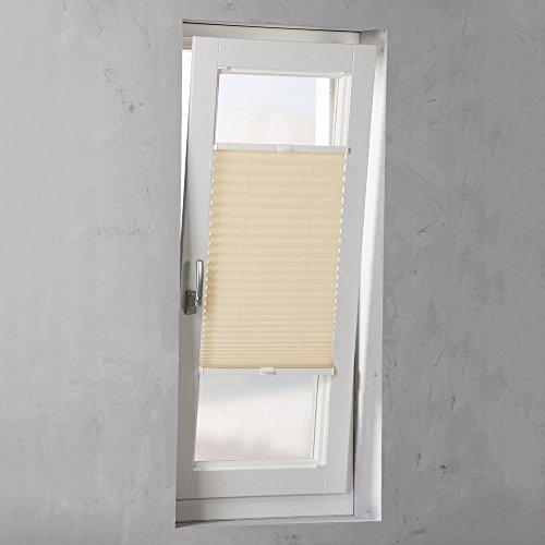 Easy-Shadow - Hochwertiges Plissee verspannt Faltstore in der Farbe beige / Breite 56 cm x Höhe 120 cm / 56x120 cm - Montage im Rahmen in der Glasleiste / Maßanfertigung