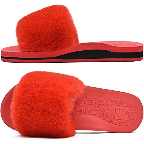 KuaiLu Pantuflas Mujer Peluche Felpa Piel de Conejo Zapatillas de Estar en Casa Invierno Comoda Peludas Caliente Slippers Verano Abierta Antideslizante Goma Suela Chanclas Rojo 41