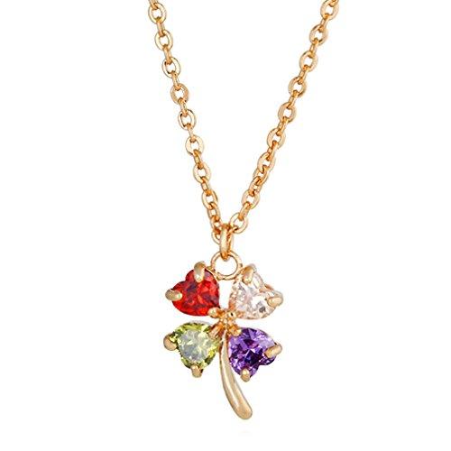 Yazilind Joyas para Mujeres, bañado en oro de 18quilates, circonitas, cristal, colgante, collar, Idea de Regalo