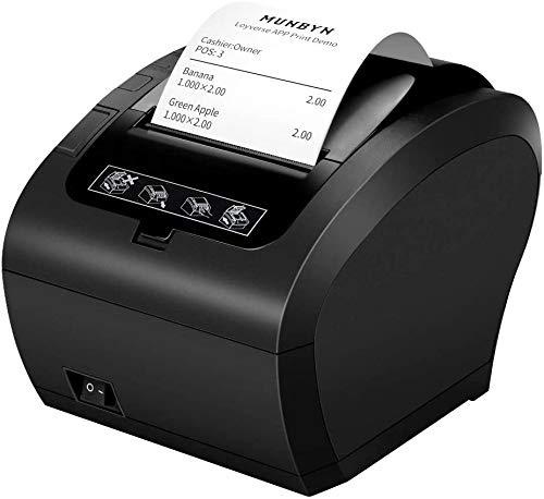 Thermodrucker Bluetooth Munbyn 300mm/s Bondrucker Belegdrucker Quittungsdrucker Auto-Cut für Schublade, Hochgeschwindigkeits Bluetooth USB Ethernet (LAN), ESC/POS eingestellt-EU 【Bluetooth Schwarz】