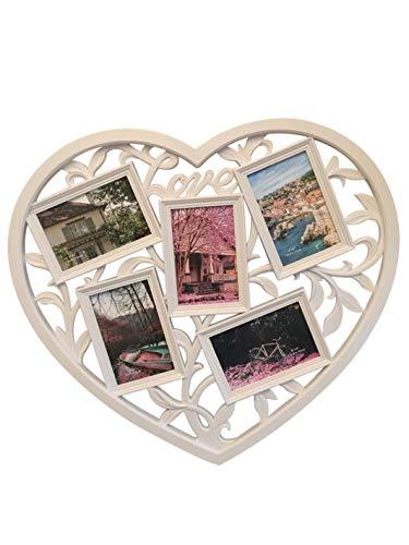 Lalia Fotorahmen Collage 5 Fotos, Herzform XXL 55x50 cm das perfekte Geschenk für den Liebsten/die Liebste, zur Hochzeit Geburtstag weiß Kunststoff romantisch 5 Fotos zu je 10x15cm Bilderrahmen