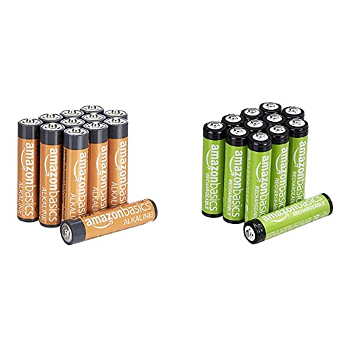 Amazon Basics Lot de 12 Piles alcalines Type AAA 1,5 V 1340 mAh (Design Variable) & Piles Rechargeables AAA, Pré-Chargées - Lot de 12