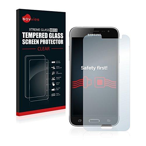 savvies Cristal Templado Compatible con Samsung Galaxy J3 / J3 Duos (2016) Protector Pantalla Vidrio Proteccion 9H Pelicula Anti-Huellas