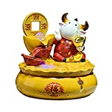 guoqunshop Fuente de la Cascada Creative Desktop Fountain Decoration Forma única Fuente Interior Feng Shui Wheel Ball Home Tabletop Fountain Resin Ornamento Fuente de Escritorio Interior