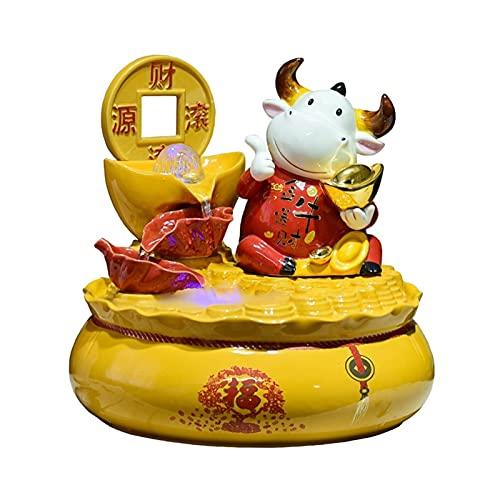 xinxinchaoshi Fuente de Interior Creative Desktop Fountain Decoration Forma única Fuente Interior Feng Shui Wheel Ball Home Tabletop Fountain Resin Ornamento Fuente Decorativa para Cuarto