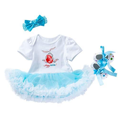 TIFIY Prinzessin Kleid Valentinstag 3 STÜCKE Kleinkind Neugeborenes Baby Ostern Eier Tutu Kleid Outfits Set(Weiß 1,3M / 59)