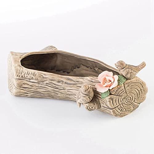DZHT Rectangular imitación Madera Pila Cabeza raíz Tallado pájaro niña corazón suculenta Maceta cerámica decoración del jardín decoración