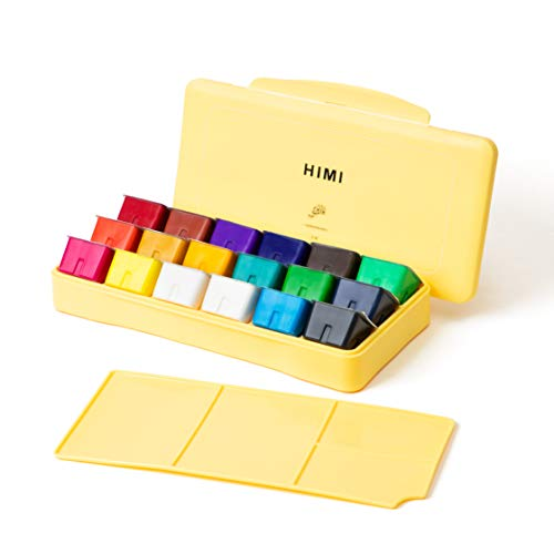 HIMI Gouache Paint Set 18 Colors (30ml/Pc) Paint Set Unique Jelly Cup Design Non Toxic Paints for Artist, Hobby Painters & Kids, Ideal for Canvas Painting for Novelty Gift(Yellow)
