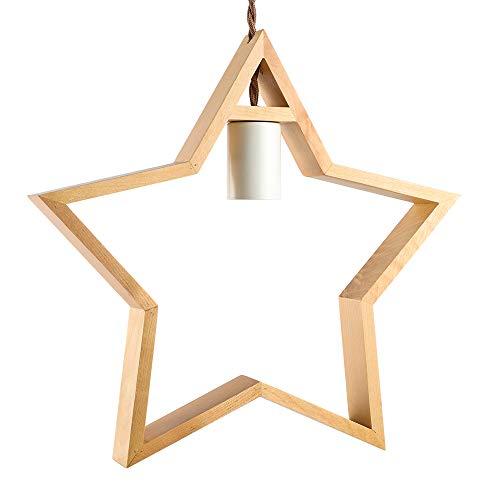 Zoarlan ウッド ペンダントライト 引掛けシーリング式 照明器具 星型 口金E26 木製 天井照明 間接照明 北欧風 電球別売り ナチュラル