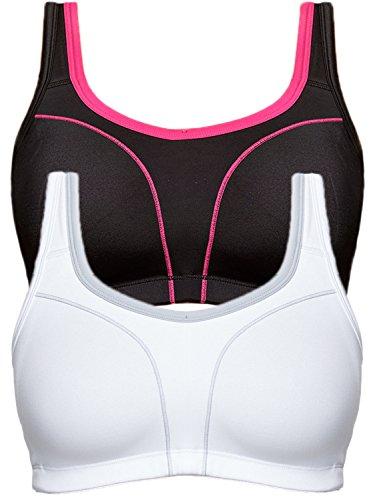 Susa 2er Sparpack Sport BH 7897 = 105-B in schwarz-pink-weiß-grau