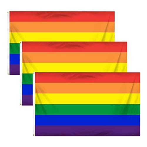 Bandera del arcoíris símbolo del colectivo de gays y lesbianas para celebraciones del Orgullo Gay, 3 unidades